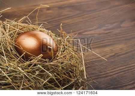 Gold chicken egg in the nest wooden background
