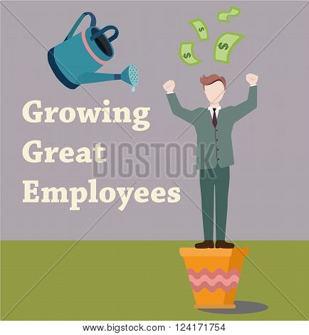 Employee makes money. Man in a suit sprinkled with water from the watering can. Growing great employees