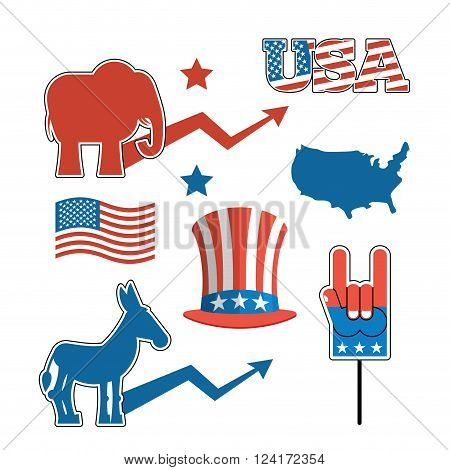 Set elections in America. Uncle Sam hat. American flag. Set political debate in United States. US flag. Donkey and elephant symbols of political parties in America. Map America