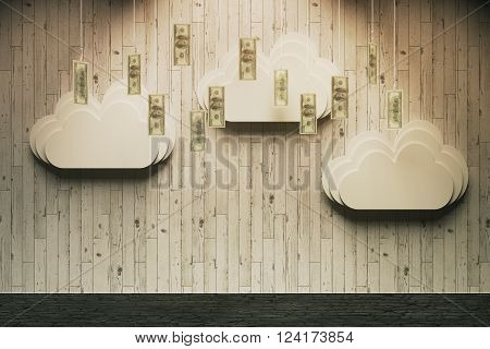 Wealth concept with abstract money rain in room with wooden wall and vertical planks. 3D Render