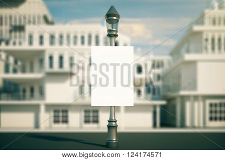 Blank poster on lamp with blurry buildings in the background. Mock up 3D Rendering