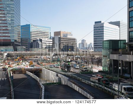 Tokyo - February 6 2015: large-scale construction of road junction in the center of Tokyo and a lot of cars on the streets February 6 2015 Tokyo Japan