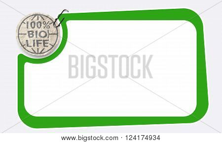 Frame and crumpled slip of paper and bio symbol