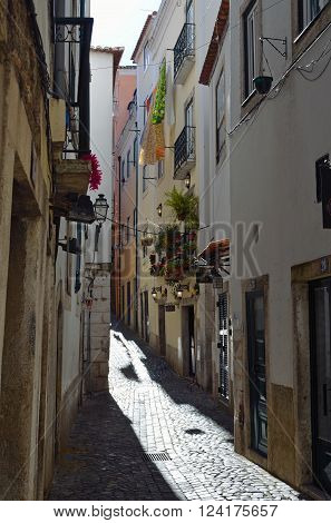 Lisbon, Portugal - March 06, 2016: The narrow streets of the Alfama district  Lisbon Portugal