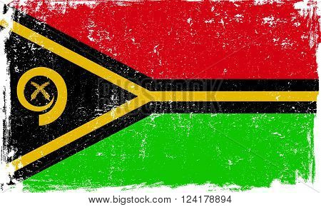 Vanuatu vector grunge flag isolated on white background.