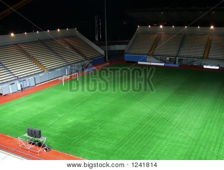 Empty Soccer Stadium In The Night