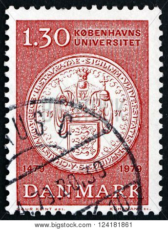 DENMARK - CIRCA 1979: a stamp printed in Denmark shows University Seal 500th Anniversary of the University of Copenhagen circa 1979
