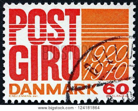 DENMARK - CIRCA 1970: a stamp printed in Denmark dedicated to Post Office Bank 50th Anniversary circa 1970