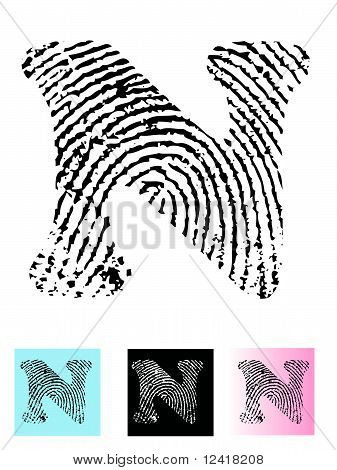 Fingerprint Alphabet Letter N
