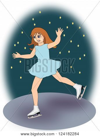 A  girl, in a blue dress, dancing with ice skates.