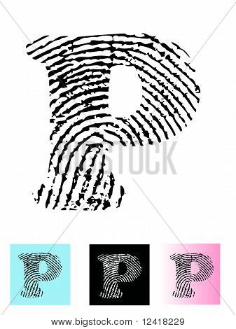 Fingerprint Alphabet Letter P