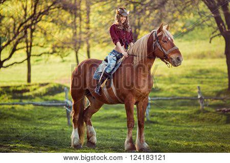 Beautiful young brunette woman on a horseback
