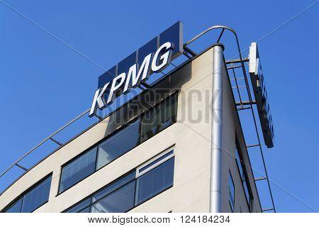 Prague, Czech Republic - March 31: Professional Service Company Kpmg Logo On The Building Of The Cze