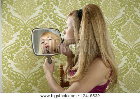 Retro Mirror Makeup Woman Lipstick Vintage
