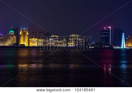 Shanghai, China - March 12, 2016: beautiful shanghai bund at night