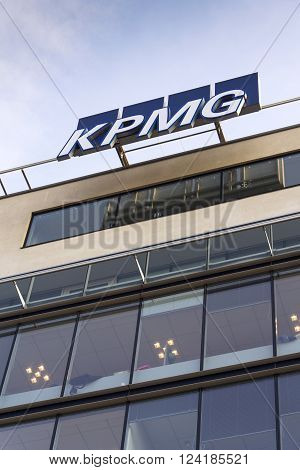 Prague, Czech Republic - March 31: Professional Service Company Kpmg Logo On The Building Of The Cze