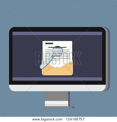 Email illustration. Sending or receiving email concept illustration. Magnifier. Flat design. Email marketing.