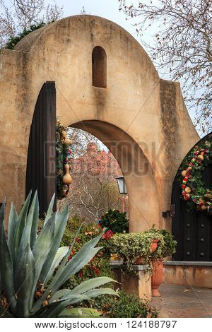 Entrance gate to Tlaquepaque Arts and Crafts Village in Sedona, Arizona