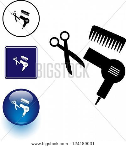hair cutting utensils symbol sign and button