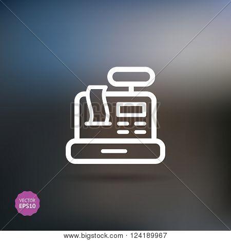 Cash Register conceptual icon. Flat, vector illustration