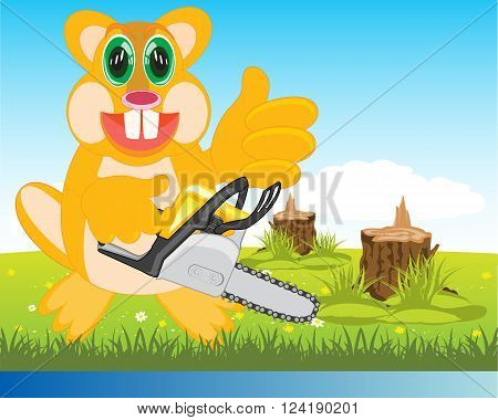 Cartoon animal beaver on glade with chainsaw in hand