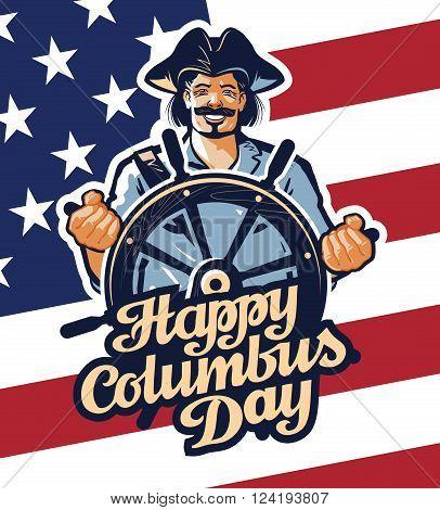Christopher Columbus on American flag background. vector illustration