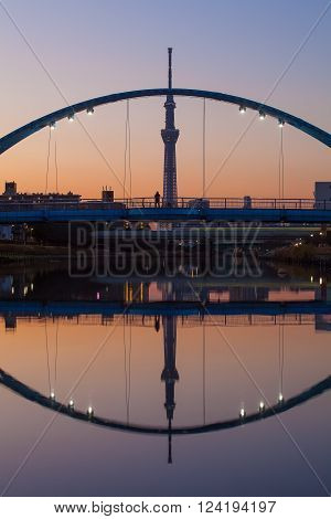 Tokyo Skytree with beautiful reflection at twilight