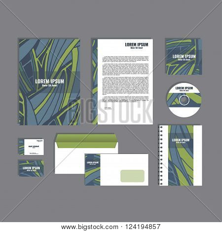 Corporate identity template with hand drawn blue and green exotic tropical leaf pattern, creative stationery branding mock-up set of separated, movable objects. EPS 10.