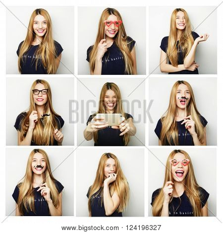 people, portrait and beauty concept - collage of woman different facial expressions