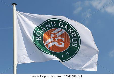 PARIS, FRANCE- MAY 26, 2015: Roland Garros flag at Le Stade Roland Garros in Paris, France