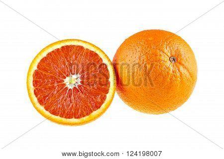 Juicy orange fruit and a half isolated on white background