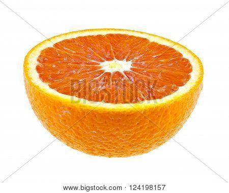 Half of juicy orange fruit isolated on white background