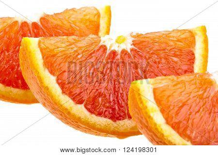 Three orange slices isolated on white background