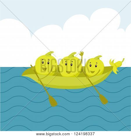 Cartoon pea beans sail in a boat on the sea. Swim vegetables. Funny peas