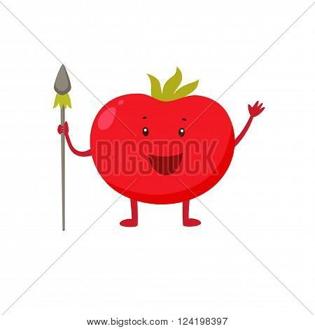 Cartoon tomato native holds a spear. Cheerful vegetable. Tomato stands and smiles