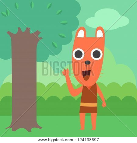 Orange raccoon in the forest , talking with raccoon