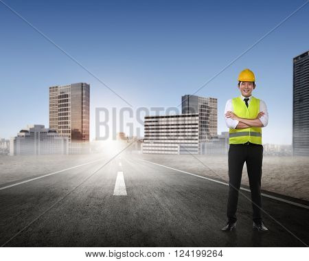 Asian Man In Safety Vest Posing