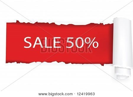 Ripped white paper showing a 50% discount at red background.