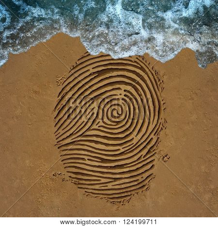 Identity crisis concept as a finger print pattern on beach sand with an ocean wave washing away the information as a security symbol for encryption or anonymity ID protection or fading away icon.