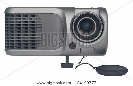 Projector and the lens cap, front view. The projector can display any information on a large screen for presentations. Object is isolated on white background without shadows.