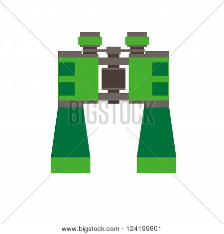 Binoculars vector icon isolated on white background. Watching optics for hiking and camping. Pictogram for website and applications