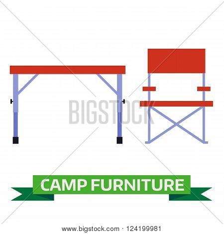 Camping table and chair vector icons. Hiking folding furniture illustration isolated on white background. Tourist chair and table flat design pictogram.
