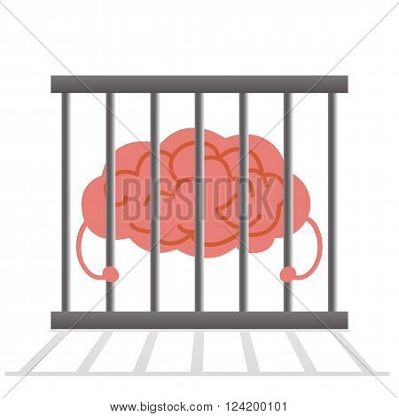 Brain in cage , brain dose not have freedom