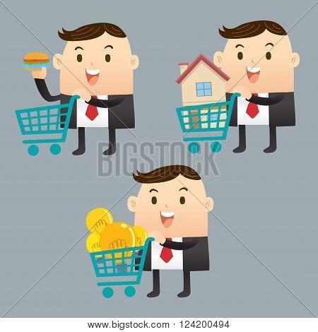 Businessman sale many object , house , bulbs and food
