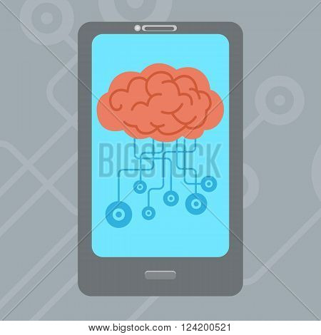 Technology and education concept design , smartphone and brain