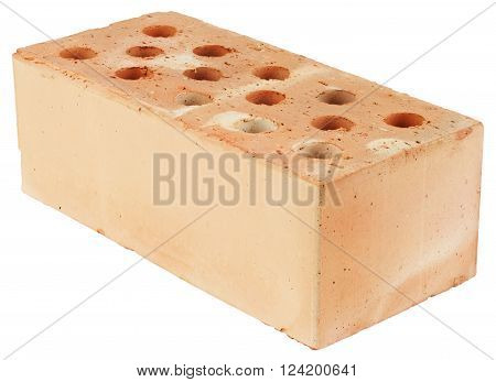 Brick hollow with circular through-holes. Object is isolated on white background without shadows.