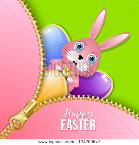 Glossy Easter eggs and bunny with zipper on green background
