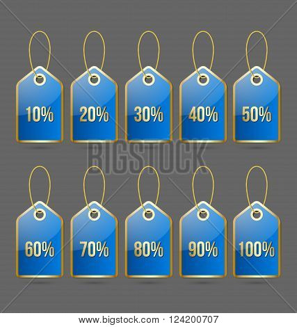 Set of golden and blue bargain price tags with percentage numbers