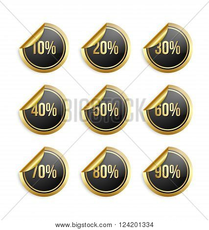 Set of golden and black bargain stickers with percentage numbers