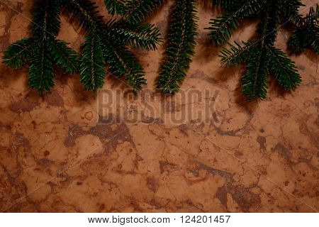 red marble with hanging out from the top of fir branches - Background and Copy Space